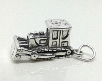 BULLDOZER Charm .925 Sterling Silver, Construction Worker Vehicle Pendant - lp1878