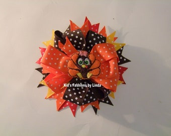 Turkey Multi-Color Swiss Dot Hair Bow