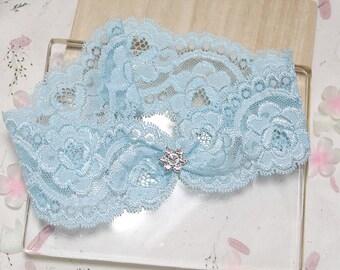 Blue rose lace garter, wedding garter,  lace garter, bridal garter, blue keepsake garter, something blue garter, single garter