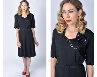 Vintage Late 1930's to Early 1940's Black Rayon Dress with Black Sequin Bow Neckline Size X-Large Volup