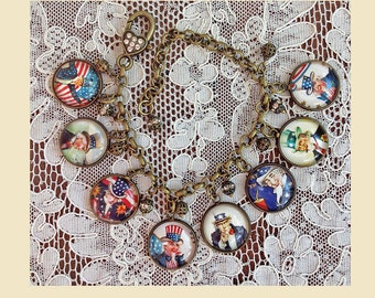 Uncle Sam ~ Glass Dome Charm Bracelet ~ Handmade From Vintage Patriotic Cards