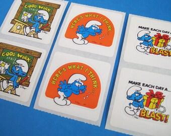 Vintage 1980's SMURFS Stickers Lot