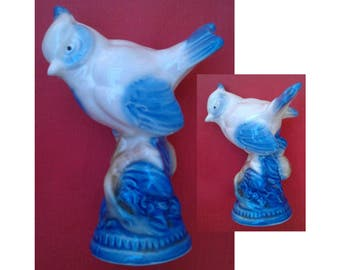 Figurine, Crested Tit Blue & White Porcelain Figurine Gzhel 1950, USSR, Russia, decorative figurine, video - https://youtu.be/IEWu_jyOFnc