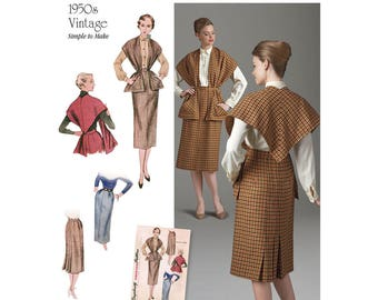 Simplicity Pattern 8507 Misses' Vintage Skirt and Stole Retro 1950's