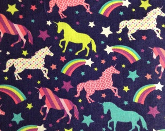 One 35 Inch Piece of fabric  - Patterned Unicorns and Rainbows. Unicorn Fabric