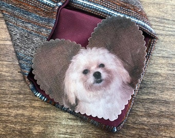 "PET MEMORY PATCH - Memory Tie Patch, Photo Patch, In Memory Of, Custom Patch, Custom Photo, Sew On, Iron On, 2.25"" Wide Heart Shaped Patch"