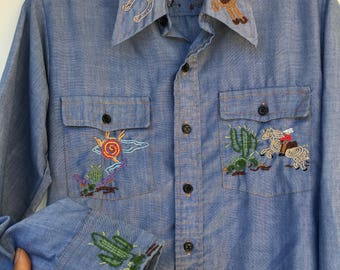 Vintage 70s Chambray Southwestern Embroidered Shirt S