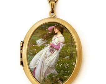 Windswept - Art Locket Necklace -John William Waterhouse - Famous Painting