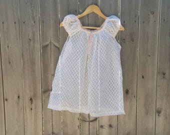 Vintage 1960s Babydoll Lingerie White Pink Ribbon Negligee