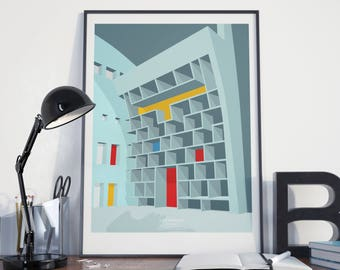50 x 70 poster graphic design poster illustration Le Corbusier Chandigarh architecture