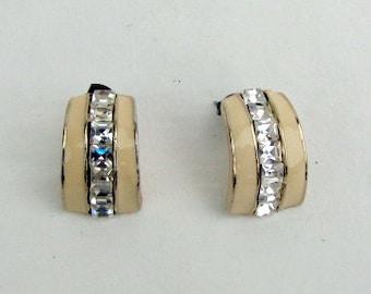 Vintage ~ 1980s ~ Earrings ~ Cream Enamel ~ Rhinestones ~ Art Deco ~ Half Circle ~ Pierced