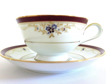 Vintage Noritake Silk Road Tea Cup Floral Shabby Chic Mint Condition