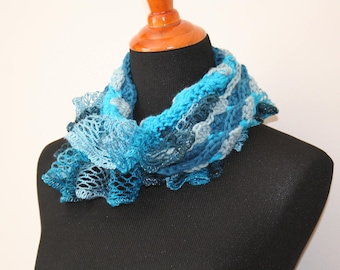 Multicolored Crochet Cowl, Blue Grey Cowl with Blue Frill, Blue Grey Ruffle Cowl