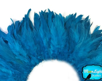 Dream Catcher Feathers, 4 Inch Strip - TURQUOISE BLUE Strung Rooster Schlappen Feathers : 3089