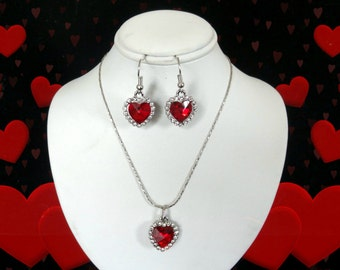 50% SALE Red Crystal Heart Necklace..Red Crystal Heart Earrings..Red Heart Necklace Set..Valentines Day Necklace..Valentines Day Earrings