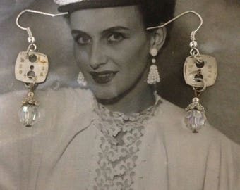JUST in TIME vintage assemblage watch face rhinestone dangle earrings, upscaled/repurposed,  altered art, mixed media