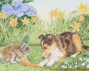 "8"" x 10"" giclee print, Sheltie pup sharing carrot with bunny , ""A Gift to Share"",  Handmade,  Heather Anderson"