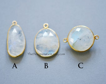 YOU CHOOSE - GORGEOUS Rainbow Moonstone Connector and Pendant with Vermeil Gold Bezel