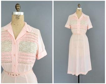 30s day dress | vintage 1930s pale pink lace bodice dress | 30s Ricki Reeve dress | vtg cotton dress | small