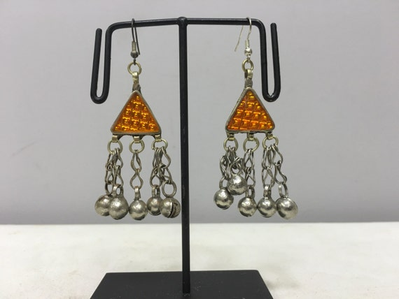 Earrings Silver Middle Eastern Triangle Gold Plastic Reflector Light Dangle Bells Handmade Silver Gold Belly Dance Bells Dangle Unique E178