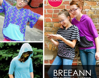 Breeann Hooded Knit Top PDF Downloadable Pattern by MODKID... sizes 8/9, 10, 12, 14, 16 Girls included - Instant Download
