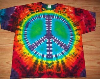 Peace Sign Tie Dye- S M L XL 2X 3X 4X 5X 6X- Kids Adult Plus Size Peace Sign Shirt- Dark Rainbow