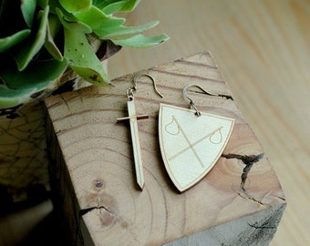 Sword and Shield Wooden Earrings
