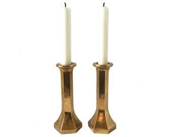 Vintage Hexagonal Brass Candlesticks, Pair