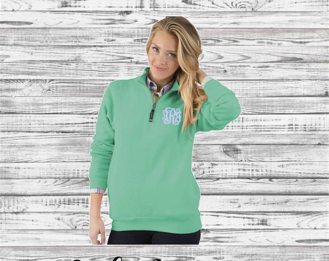 Monogram Quarter Zip Pullover, Christmas Gift, Gifts for Her, Monogrammed Quarter Zip - Charles River Crosswind Sweatshirt