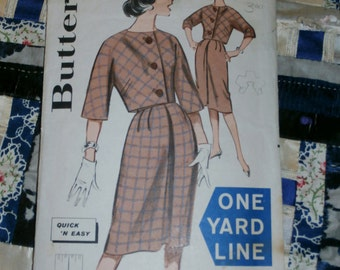 "Vintage 1960s Butterick Pattern 9437 for Misses One Yard Jacket and Skirt Size 12, Bust 32"", Waist 25"", Hip 34"""
