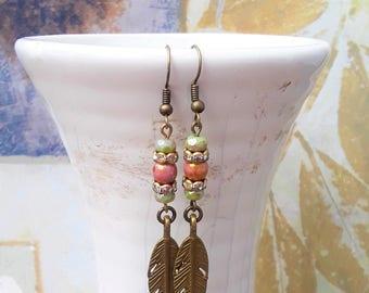 Feather Earrings, Gypsy Earrings, Dainty Earrings, Everyday Earrings, Dangle Earrings, Bohemian Earrings, Hippie Earrings, Tribal, Feathers