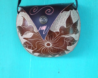 Calabash handbag/purse carved with humming bird and hibiscus