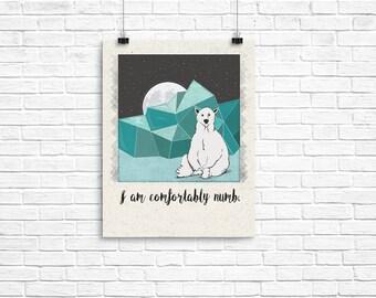 Comfortably numb, Pink Floyd, Polar Bear, Arctic, Downloadable, Printable, Print At Home, Wall Art, Wall Decor