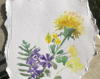 Original watercolor wildflowers painting