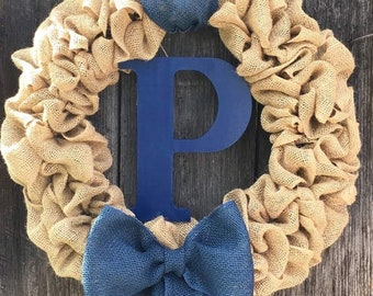 Personalized 22in burlap wreath with wooden painted letter, Custom wreath with initial