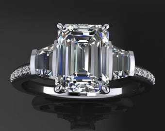 emma ring - 1.75 carat emerald cut NEO moissanite engagement ring, 3 stone ring