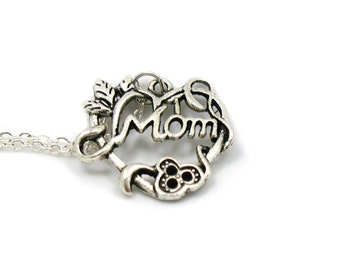 Mom Necklace, Charm Jewelry, Mom Charm, Mother Charm Necklace, Mom Pendant, Everyday Jewelry, Mother's Day Gift, Gift Under 20