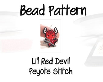 Halloween Bead PATTERN, Brick Stitch Weaving, Jewelry Craft Digital File - Li'l Red Devil