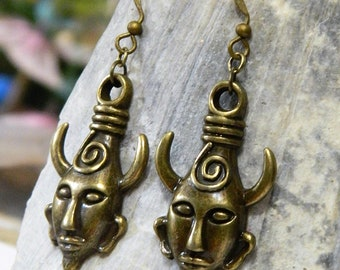Supernatural Dean Winchester Protection Amulet Demon Dangle Earrings in Bronze or Silver