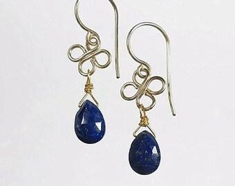 Lapis Earrings Lapis Lazuli Earring Blue Drop Earrings