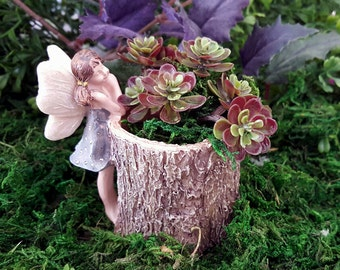 Miniature Stump Planter with Fairy in Blue