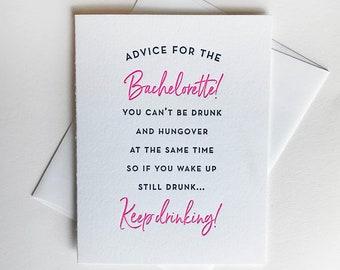 Letterpress congratulations wedding card - Bachelorette
