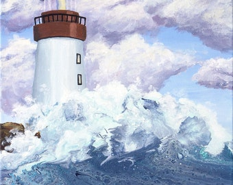 "Keeping Watch, Lighthouse Painting, Ocean Waves, 16"" x 20"", Fine Art Giclee"