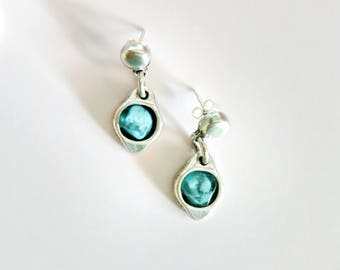 Silver aerrings-Blue and silver earrings-Earrings for womens-Boho earrings-Bohemian jewelry-Turquoise earrings-Blue summer earrings.
