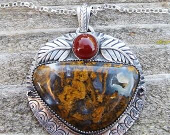 Native American Inspired Pendant Golden Plume Agate Pendant Carnelian Pendant Sterling Silver Pendant Gemstone Pendant