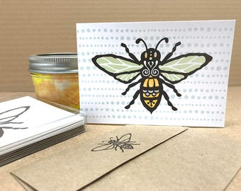 Honey Bee screen printed note cards, Boxed Set of 6