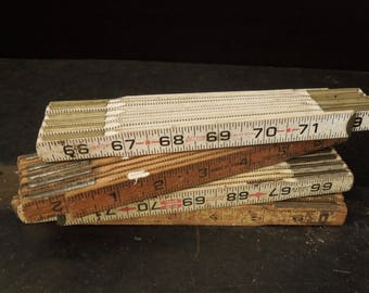 Vintage Folding Wooden Ruler Collection - Wood Measuring Rulers -Lufkin - Decor Man Cave Rustic Primitive Repurpose Upcycle