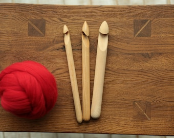 Set 15/20/25mm of 3 Wooden crochet hooks  handcrafted, giant yarn hook, knitting gift for her, thick wooden crochet hooks