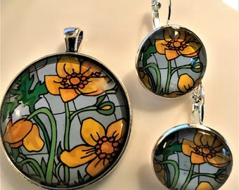 3 sets to choose from! Glass Cabochon Pendant and Earring set