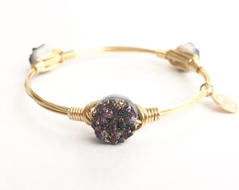 XSmall Rainbow Druzy Wire Bangle, Wire Wrapped Bangle, Bourbon and Boweties Inspired